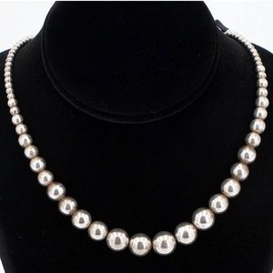 💜Vintage Sterling Silver Ball/Bead Necklace💜